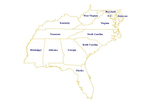 United States Map Southeast